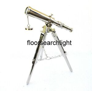 Telescope Nautical Brass With Tripod Stand Chrome Finish Collectible Desk Decor