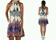 NEW LEO ROSI WOMEN'S DARCY HALTER DRESS MULTICOLOR  SIZE LARGE