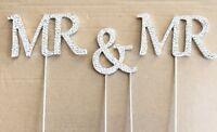 MR & MR Diamante Diamond Gem Silver Wedding Civil Cake Topper Decor Design2