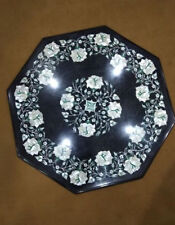 Black Marble Mother of Pearl Inlay Marquetry Inlay Coffee Table Antique Style