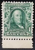 Benjamin Franklin US Postage 1 Cent Stamp Scott#300 1902 Green , UNUSED.