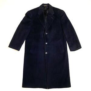 VTG Pierre Cardin Top Coat Over Coat Wool Cashmere Blend Men's 44R Navy Blue