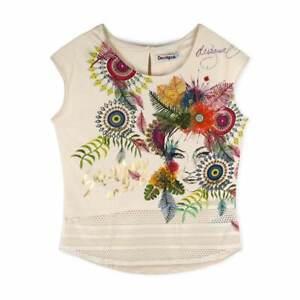 Desigual Camiseta Arantza Beige Bordados Camiseta de Manga Corta Blusa Talla M