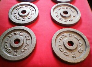 """4 x 2.5 kg Plates (10 kg Total) GOLD'S GYM Cast Iron Disks Training Weights 1"""""""
