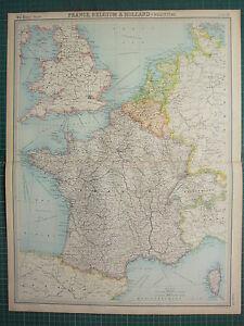 1921 LARGE MAP ~ FRANCE BELGIUM & HOLLAND POLITICAL FRANCE PARIS ROUTES