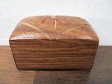 "Small Decorative Shisham Sheesham Wood India Trinket Box Brass Inlay 3"" x 2"""