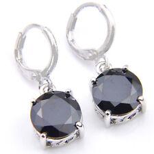 Special Jewelry Round Cut Black Onyx Gemstone Silver Danlge Hook Earrings New