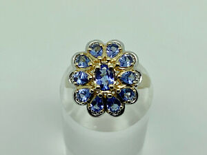 Stunning Modern Gold on Sterling Silver Tanzanite Cluster Cocktail Ring Size O