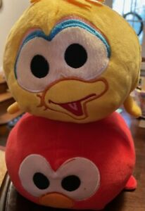Large Sesame Street Stackable Stuffed Toys HTF Big Bird & Elmo NICE