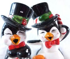 Penguins in Top Hats Christmas Figurine with  Candy Cane Made in Taiwan