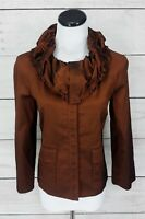 St John Nordstrom Copper Brown Satin Button Down Dress Shirt Top Size Small S