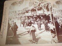 Old stereoview photograph Theatre street Osaka Japan c1890s