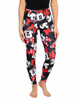 Juniors Disney Minnie Mouse Red Bow Black Leggings All-Over Print Stretch