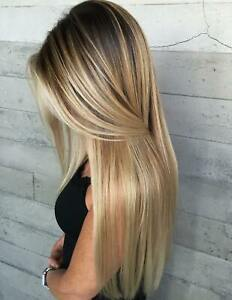 Luxury Lace Front Golden Blonde Balayage Shadow Root Human Hair Full Lace Wig