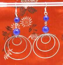 3 piece metal Ring 3.5'' Earring-ear620 Sale Fashion Blue 8-10mm Natural Jade &