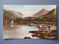 R&L Postcard: Wales, Llanberis Lake, Cattle, ETW Dennis