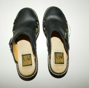 Prima Royale Uni-Trend Women's Black Leather Upper Slip-On Clogs Size 7.5