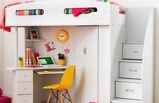 SALE SINGLE LOFT BUNK BED DESK/BOOKCASE/WARDROBE/STORAGE all white Kids Bedroom