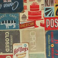 PVC Tablecloth American Retro Diner Vintage Cafe Print Wipeclean Oilcloth