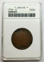 1794 Liberty Cap Flowing Hair Large Cent Old ANACS Holder