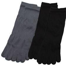 [Voshua] Men Finger Toe Quarter Socks Cotton Blend 4Pairs BK GR sz 10 /26cm Kor