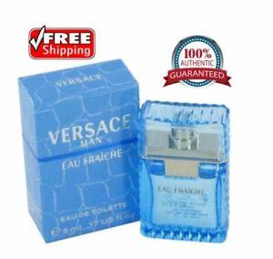 100% Authentic Versace Man Cologne Blue Men Perfume Eau Fraiche EDT 0.17 oz 5 ml