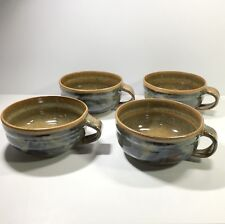 4 Studio Art Pottery Soup Mugs Hand Thrown Artist Signed SWP