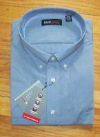 Roundtree Men SS Solid Med Blue Travel Smart Shirt 2XLT,3X,3XLT,4X,4XLT NWT