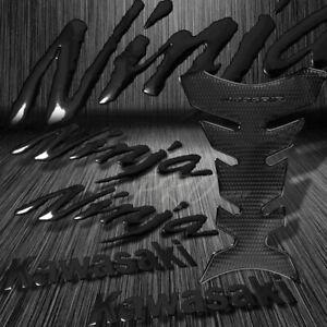 """Perforated Black Pro Fuel Tank Pad+8"""" Kawasaki Logo Emblem+Ninja Fender Sticker"""