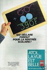 Publicité advertising 1986 Opticien les lunettes Atol