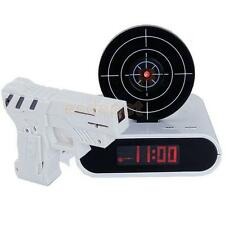 Target Desk Clock Creative Shooting Alarm Wake Up Gadget LCD Laser Gun Toy