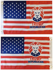 """USA Trump Republican Lion Double Sided 100D Woven Poly Nylon 12""""x18"""" Flag"""