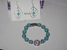 LOT OF 2:Lia Sophia BAY BREEZE BRACELET & TURQUOISE COLORED BEAD EARRINGS(NON LS