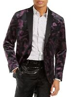 INC Mens Blazer Black Purple Large L Satin-Lapel Velvet Floral Slim Fit $149 151