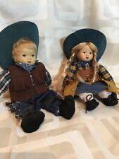Porcelain Dolls Soft Bodied Girl And Boy Cowboys Sit Down Dolls