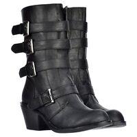 Ladies Womens Rocket Dog Rollin Biker Boots Buckles Shoes Grey Black Tan Size