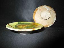 ancienne assiette miniature de poupée en terre cuite vernissée jaspée XIX ème