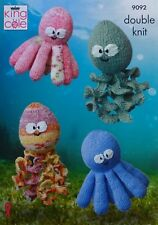 KNITTING PATTERN Octopus & Squid Soft Toys in 2 Sizes DK King Cole 9092