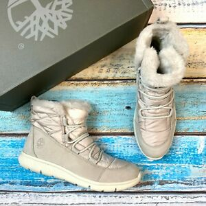 Timberland Women's Boltero Warm Lined Light Grey Nubuck Snow Boots A23BE
