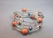 Memory wire silver tone 4 row bead bangle bracelet