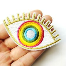 Gold & Rainbow Evil Eye Hamsa, Colorful Patch Iron-On/Sew-On Embroidered