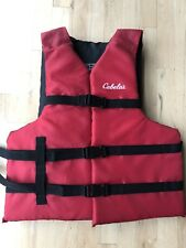Cabelas Adult Universal Life Vests Swimming Jacket Red Color Chest Size 30-52 in