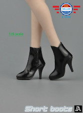 "1/6 scale Female BLACK Short Ankle Shoes Leather Boots HOLLOW for 12"" PHICEN"