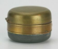 Antique Round Brass Traveling Weighted Bottom Inkwell