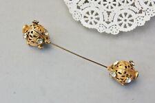 "Hat Pin Antique Rhinestone Gilt Gold Brass 5 1/4"" Threaded Double Ball Filigree"