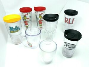 Lot of 8 Tervis Hot/Cold Travel Cups, Mugs, Tumblers - Grinch, UCLA, Wine Glass