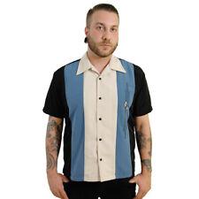 Steady Clothing Vintage Bowling Shirt - The Trinity Schwarz-Blau Rockabilly