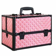 Cosmetics Case Portable Make up Carry Bag Professional 4 Trays 8 Dividers PINK