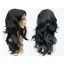 Cfly9 Women's Long Curly Fancy Dress Wigs Black Cosplay Costume Ladies Wig Party