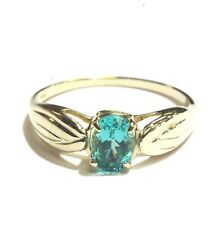 14k yellow gold womens oval solitaire apatite ring 1.8g estate vintage antique